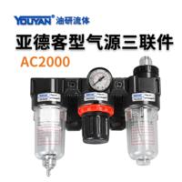 亞德客型氣動三聯件 AC2000 不帶接頭, AC2000 帶2只PC6-02, AC2000 帶2只PC8-02