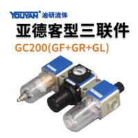 氣源三聯件自動排水 GC200-08 不帶接頭, GC200-08 帶2只PC4-G02