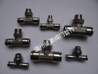 304不銹鋼中間外螺紋快插式等徑異徑變徑三通中間氣源快插氣動接頭 PB8-02 PD6-02 PE8